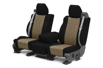 Image may not reflect your exact vehicle! CalTrend® - 1st Row NeoSupreme Black & Beige Custom Seat Covers