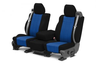 Image may not reflect your exact vehicle! CalTrend® - 1st Row NeoSupreme Black with Blue Custom Seat Covers
