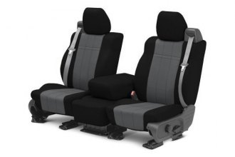 Image may not reflect your exact vehicle! CalTrend® - 1st Row NeoSupreme Black & Charcoal Custom Seat Covers