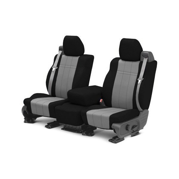 CalTrend® - NeoSupreme 1st Row Black & Light Gray Custom Seat Covers