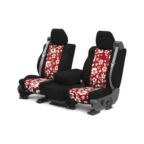 CalTrend® - NeoSupreme 1st Row Black & Hawaiian Red Custom Seat Covers