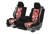Image may not reflect your exact vehicle! CalTrend® - Front NeoSupreme Black with Hawaiian Red Custom Seat Covers