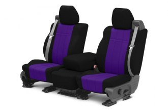 Image may not reflect your exact vehicle! CalTrend® - 1st Row NeoSupreme Black with Purple Custom Seat Covers