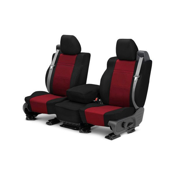 Image may not reflect your exact vehicle! CalTrend® - 1st Row NeoSupreme Black with Red Custom Seat Covers