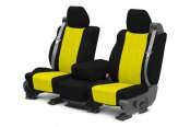 Image may not reflect your exact vehicle! CalTrend® - Front NeoSupreme Black with Yellow Custom Seat Covers