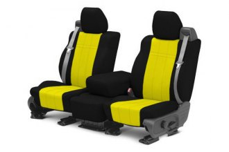 Image may not reflect your exact vehicle! CalTrend® - 1st Row NeoSupreme Black with Yellow Custom Seat Covers
