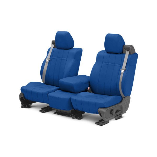 Image may not reflect your exact vehicle! CalTrend® - Front NeoSupreme Blue Custom Seat Covers