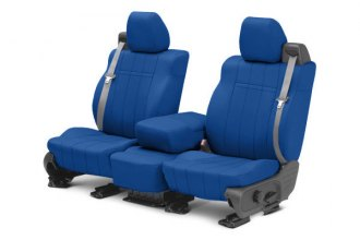 Image may not reflect your exact vehicle! CalTrend® - 1st Row NeoSupreme Blue Custom Seat Covers
