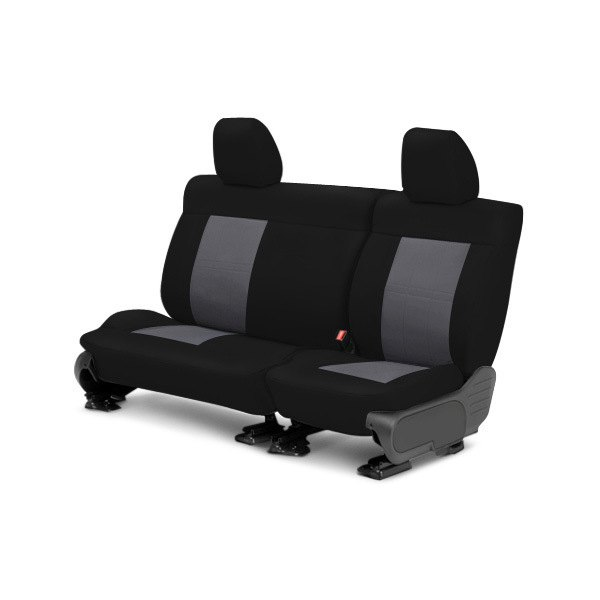 Image may not reflect your exact vehicle! CalTrend® - Center NeoSupreme Black with Charcoal Custom Seat Covers