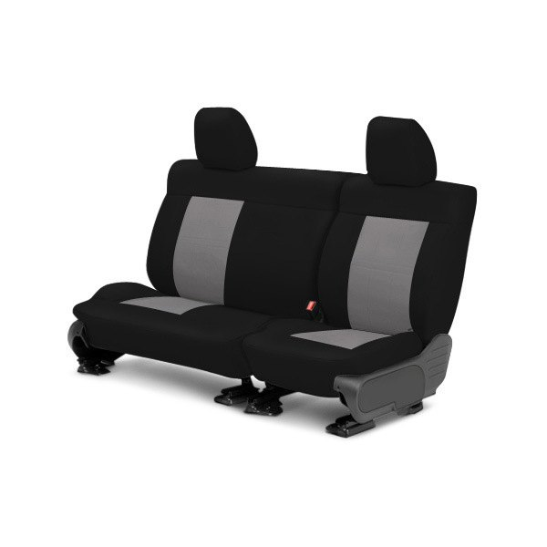 Image may not reflect your exact vehicle! CalTrend® - Center NeoSupreme Black with Light Gray Custom Seat Covers