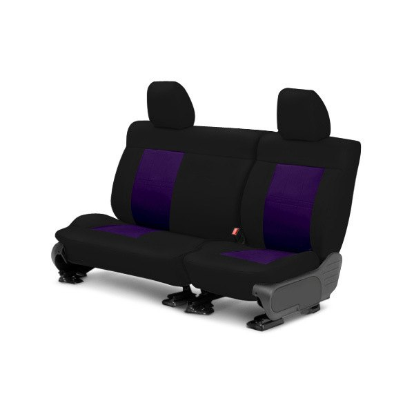 Image may not reflect your exact vehicle! CalTrend® - Center NeoSupreme Black with Purple Custom Seat Covers