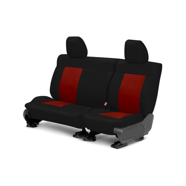 Image may not reflect your exact vehicle! CalTrend® - Center NeoSupreme Black with Red Custom Seat Covers