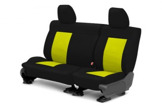 Image may not reflect your exact vehicle! CalTrend® - Center NeoSupreme Black with Yellow Custom Seat Covers