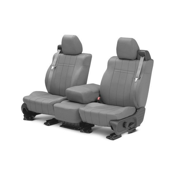 Image may not reflect your exact vehicle! CalTrend® - Front NeoSupreme Light Gray Custom Seat Covers