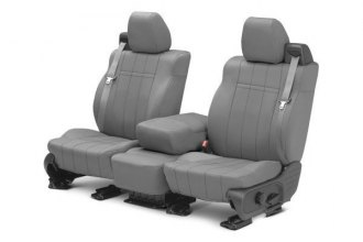 Image may not reflect your exact vehicle! CalTrend® - 1st Row NeoSupreme Light Gray Custom Seat Covers