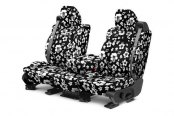 Image may not reflect your exact vehicle! CalTrend® - 1st Row NeoSupreme Hawaiian Black Custom Seat Covers