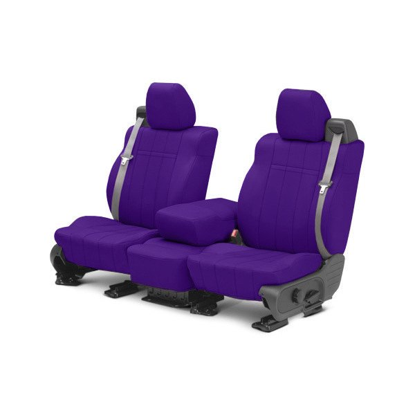 Image may not reflect your exact vehicle! CalTrend® - 1st Row NeoSupreme Purple Custom Seat Covers