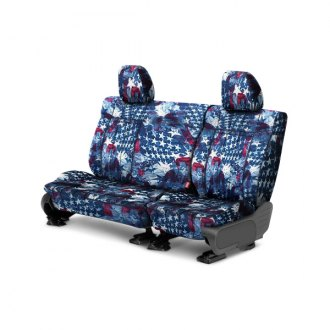 Image may not reflect your exact vehicle! CalTrend® - 2 Row NeoSupreme American Flag Custom Seat Covers