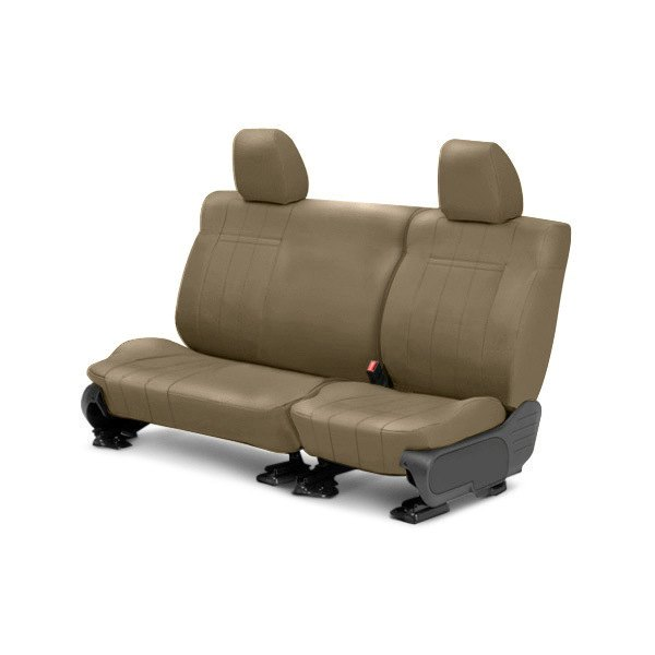 Image may not reflect your exact vehicle! CalTrend® - Rear NeoSupreme Beige Custom Seat Covers