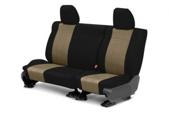 CalTrend® FD414-06NN - Rear Row NeoSupreme Black with Beige Custom Seat Covers