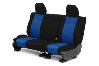 Image may not reflect your exact vehicle! CalTrend® - 2nd Row NeoSupreme Black with Blue Custom Seat Covers