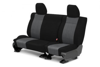 Image may not reflect your exact vehicle! CalTrend® - Rear NeoSupreme Black with Charcoal Custom Seat Covers