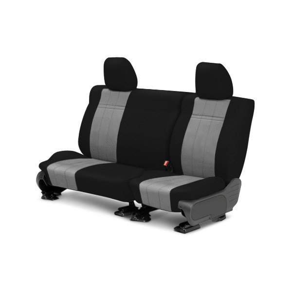 Image may not reflect your exact vehicle! CalTrend® - 2nd Row NeoSupreme Black & Light Gray Custom Seat Covers