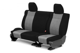 Image may not reflect your exact vehicle! CalTrend® - 2nd Row NeoSupreme Black with Light Gray Custom Seat Covers