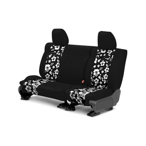 Image may not reflect your exact vehicle! CalTrend® - 2nd Row NeoSupreme Black with Hawaiian Black Custom Seat Covers