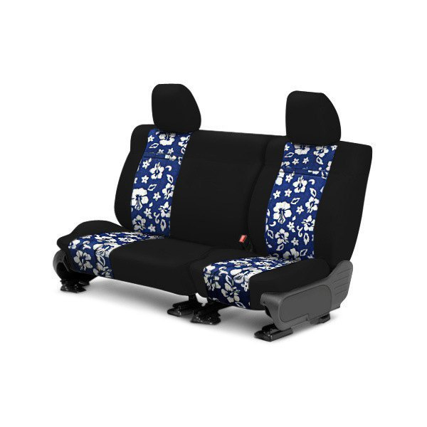 Image may not reflect your exact vehicle! CalTrend® - Rear NeoSupreme Black with Hawaiian Blue Custom Seat Covers