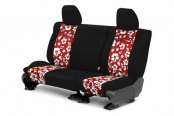 Image may not reflect your exact vehicle! CalTrend® - Rear NeoSupreme Black with Hawaii Red Custom Seat Covers