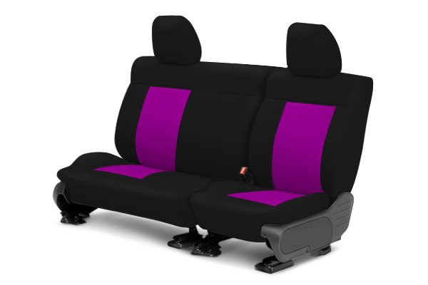 Image may not reflect your exact vehicle! CalTrend® - Rear NeoSupreme Black with Pink Custom Seat Covers