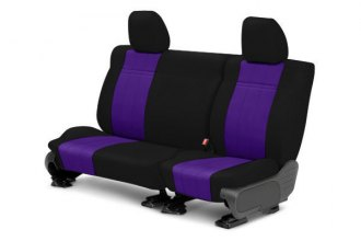 Image may not reflect your exact vehicle! CalTrend® - 2nd Row NeoSupreme Black with Purple Custom Seat Covers