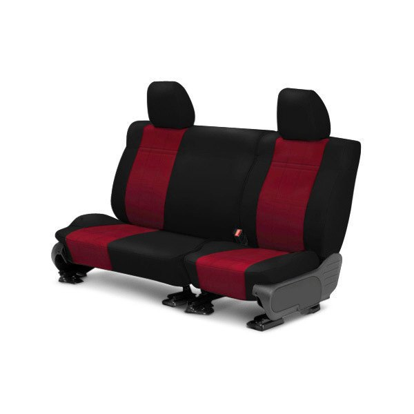 Image may not reflect your exact vehicle! CalTrend® - Rear NeoSupreme Black with Red Custom Seat Covers