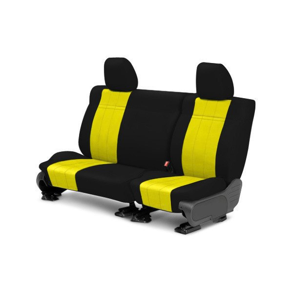 Image may not reflect your exact vehicle! CalTrend® - 2nd Row NeoSupreme Black with Yellow Custom Seat Covers