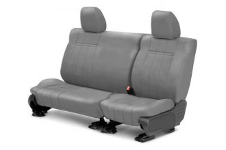 Image may not reflect your exact vehicle! CalTrend® - Rear NeoSupreme Light Gray Custom Seat Covers