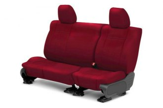 Image may not reflect your exact vehicle! CalTrend® - 2nd Row NeoSupreme Red Custom Seat Covers