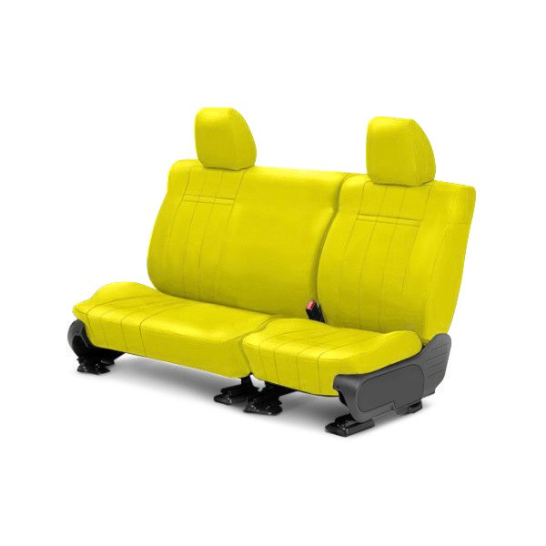 Image may not reflect your exact vehicle! CalTrend® - 2nd Row NeoSupreme Yellow Custom Seat Covers