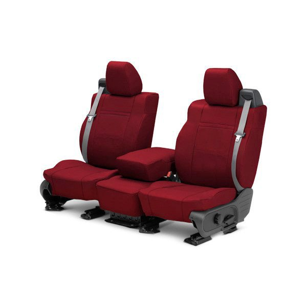 Image may not reflect your exact vehicle! CalTrend® - 1st Row NeoSupreme Red Custom Seat Covers