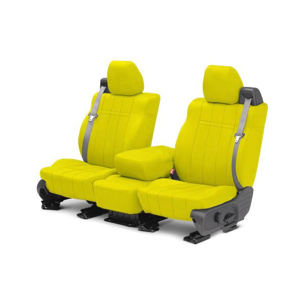 Image may not reflect your exact vehicle! CalTrend® - 1st Row NeoSupreme Yellow Custom Seat Covers