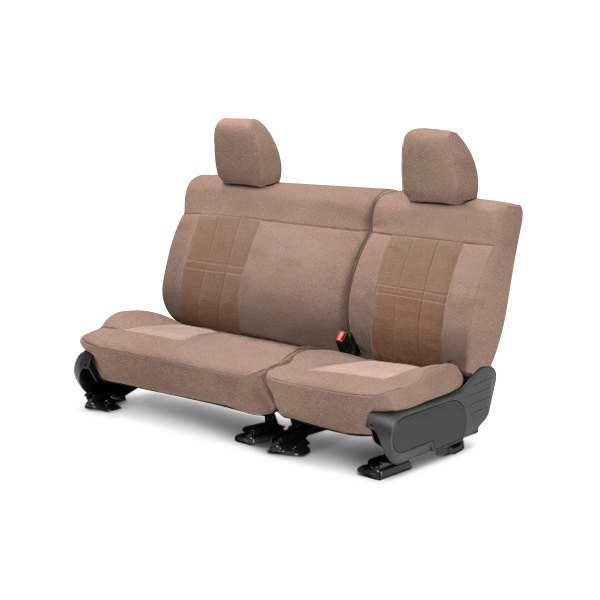 Image may not reflect your exact vehicle! CalTrend® - Center Velour Beige Classic Trim with Premier Insert Custom Seat Covers