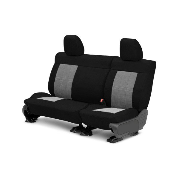 Image may not reflect your exact vehicle! CalTrend® - Center Velour Black Classic Trim with Premier Insert Custom Seat Covers