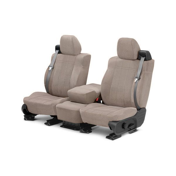 Image may not reflect your exact vehicle! CalTrend® - Front Velour Beige Classic Trim with Classic Insert Custom Seat Covers