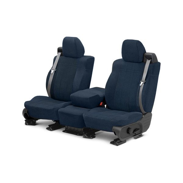 Image may not reflect your exact vehicle! CalTrend® - Front Velour Blue Classic Trim with Classic Insert Custom Seat Covers