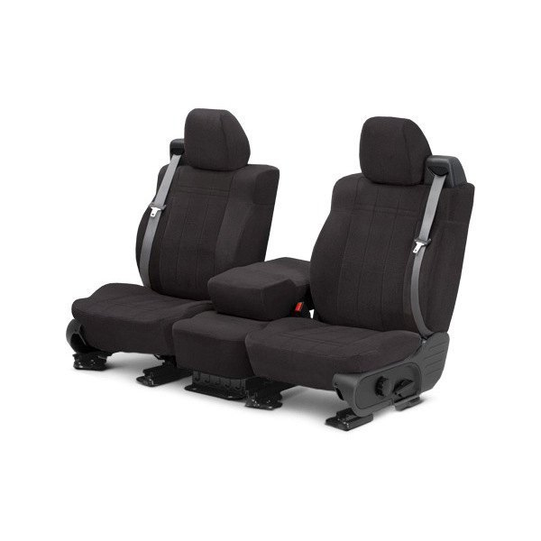 Image may not reflect your exact vehicle! CalTrend® - Front Velour Charcoal Classic Trim with Classic Insert Custom Seat Covers