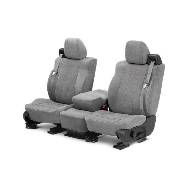 Image may not reflect your exact vehicle! CalTrend® - Front Velour Light Gray Classic Trim with Classic Insert Custom Seat Covers