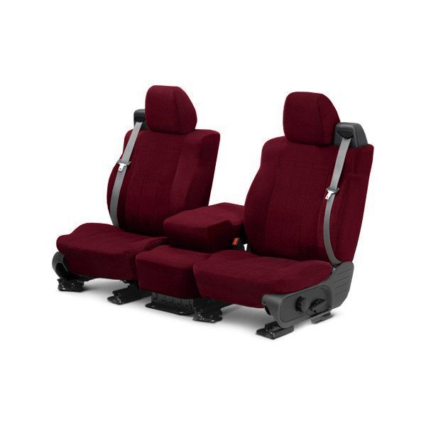 Image may not reflect your exact vehicle! CalTrend® - Front Velour Red Classic Trim with Classic Insert Custom Seat Covers