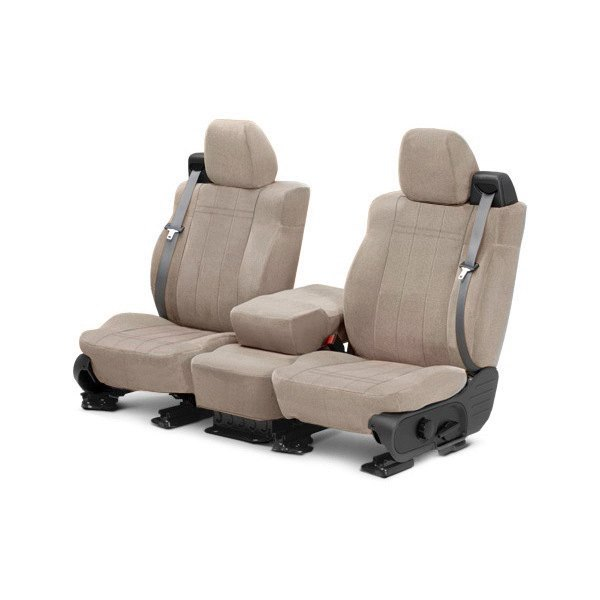 Image may not reflect your exact vehicle! CalTrend® - Front Velour Sandstone Classic Trim with Classic Insert Custom Seat Covers