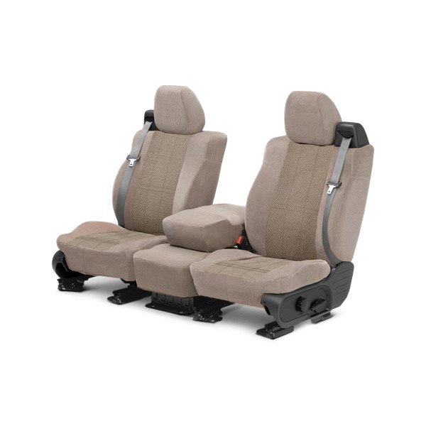 Image may not reflect your exact vehicle! CalTrend® - Front Velour Beige Classic Trim with Monarch Insert Custom Seat Covers