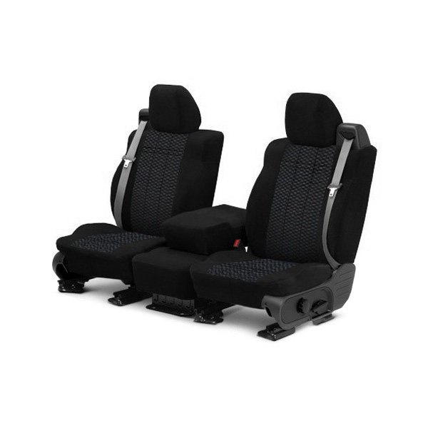 Image may not reflect your exact vehicle! CalTrend® - Front Velour Black Classic Trim with Monarch Insert Custom Seat Covers